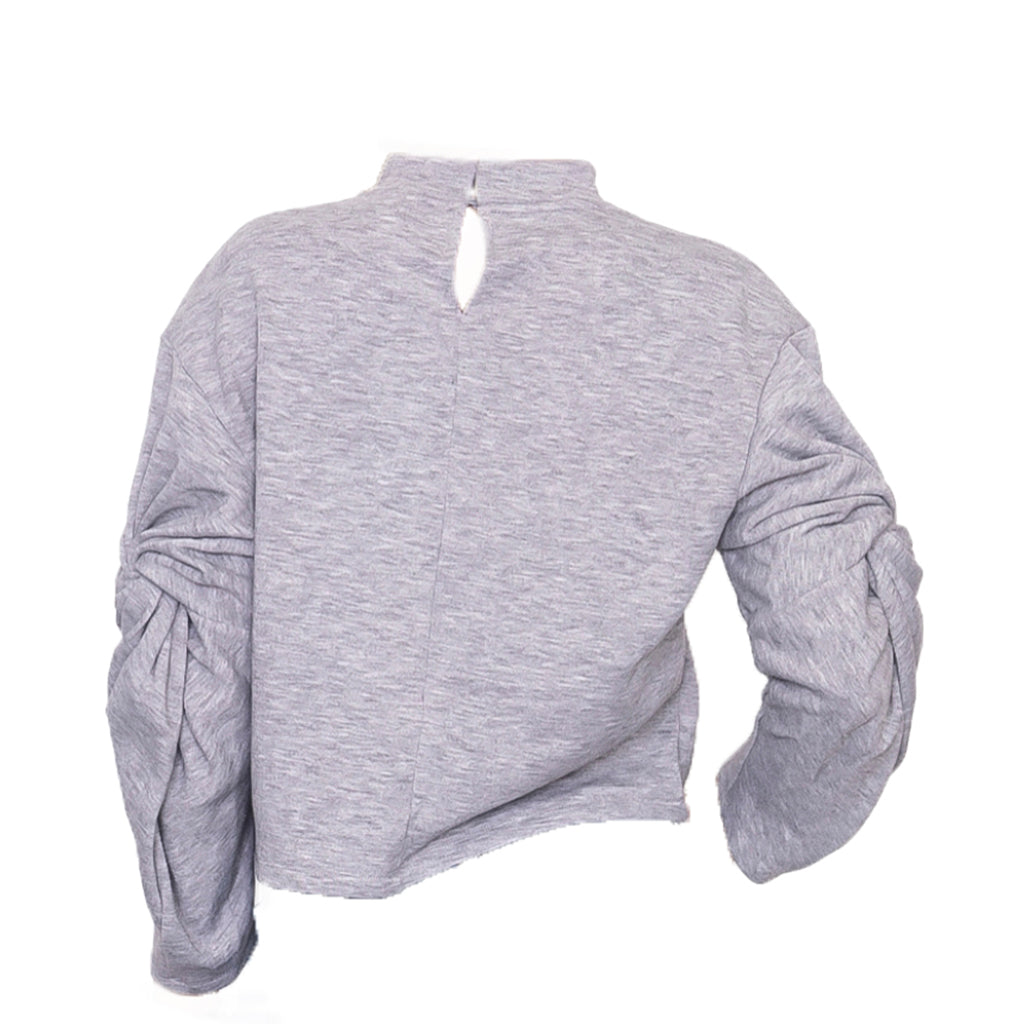 Twisted Sleeve Mock Neck Sweatshirt Back