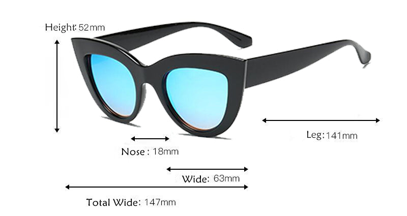 Cat Eye Blue Tinted Sunglasses Size Chart