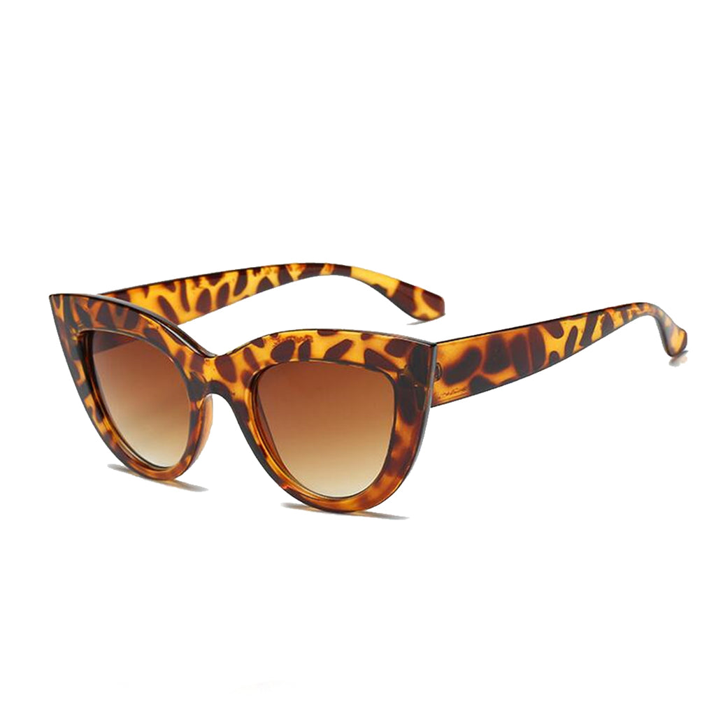 Cat Eye Tinted Color Sunglasses Leopard Tea