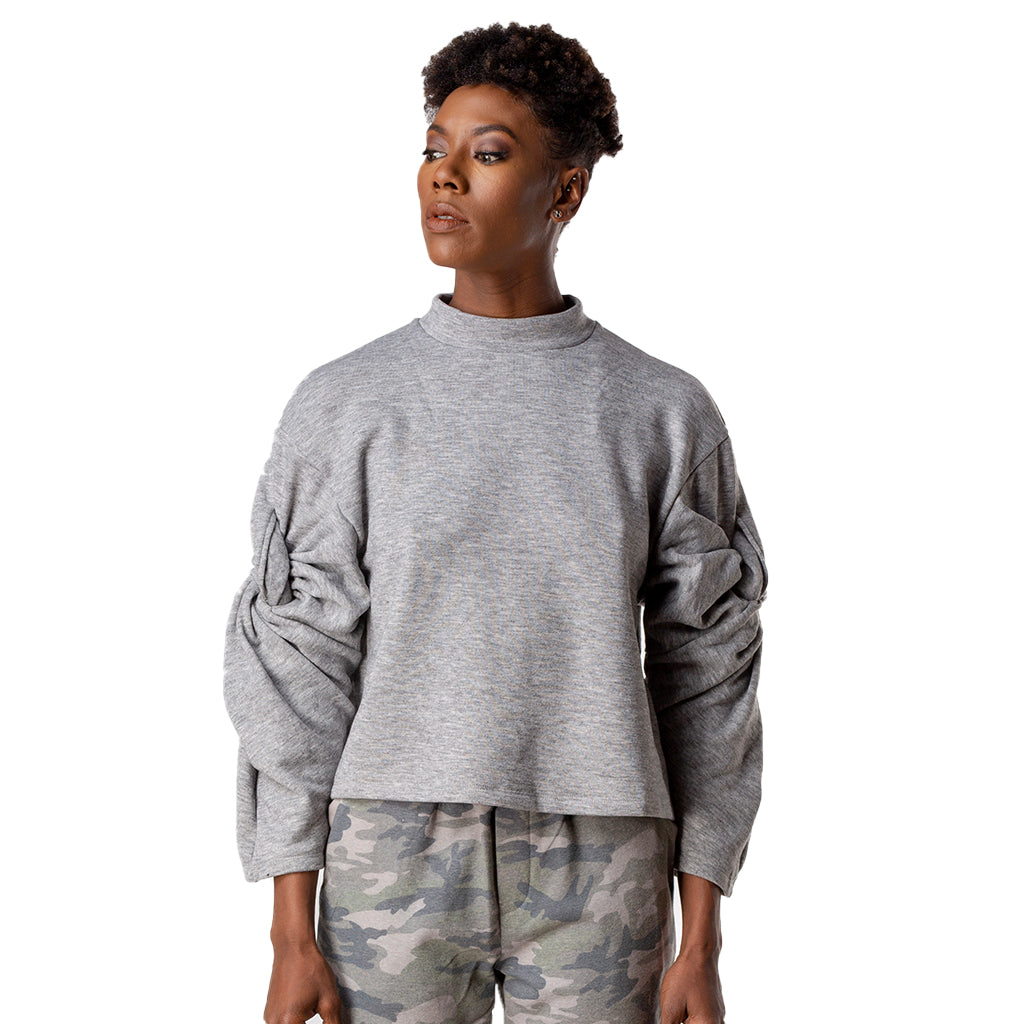 Twisted Sleeve Mock Neck Sweatshirt Front Model