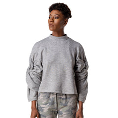 Twist Sleeve Mock Neck Sweatshirt