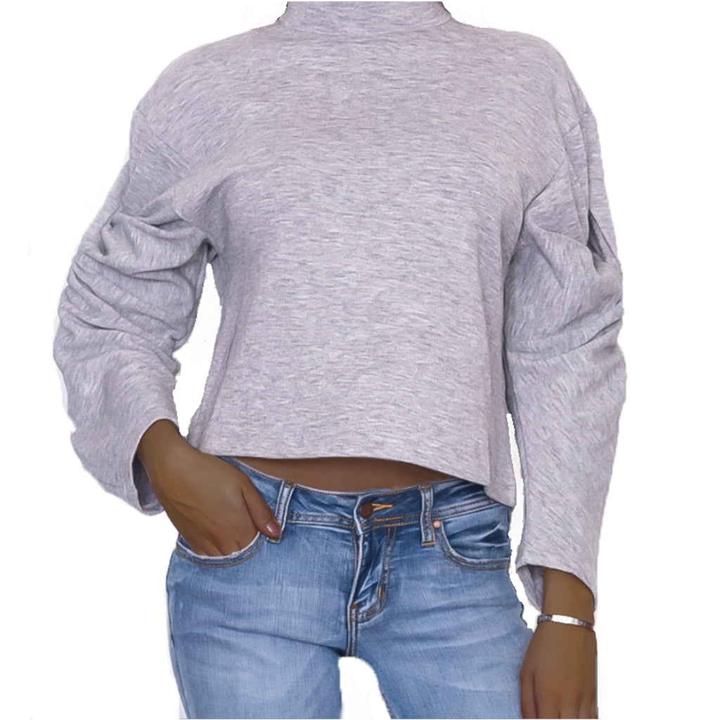 Twisted Sleeve Mock Neck Sweatshirt Front