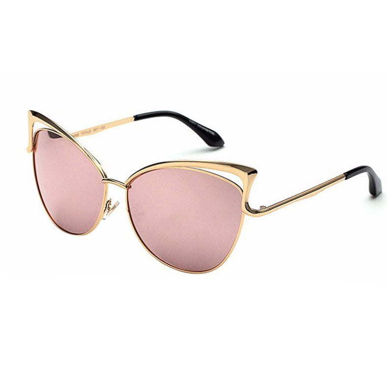Cat Eye Vintage Twin Beam Mirrored Sunglasses