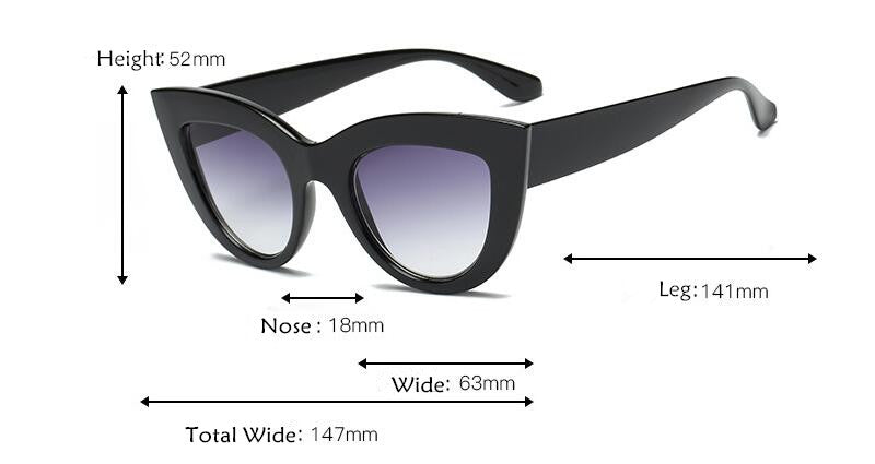 Cat Eye Tinted Color Sunglasses Shiny Frame