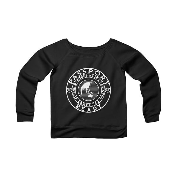 Passport Ready Wide Neck Sweatshirt | Greece Black