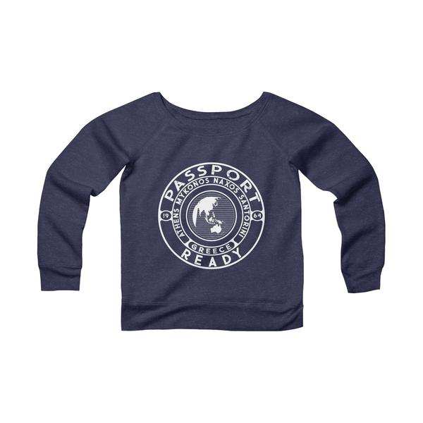 Passport Ready Wide Neck Sweatshirt | Greece Navy Triblend