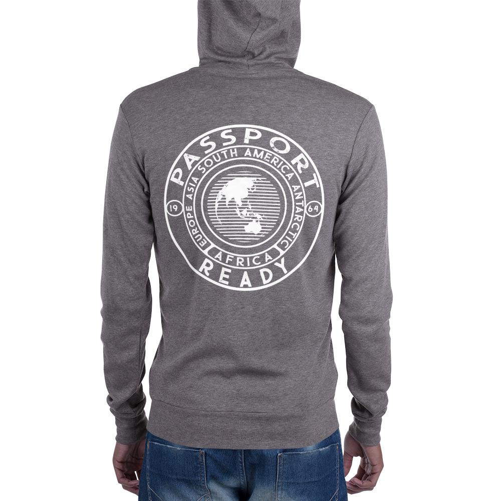 Passport Ready Men's Lightweight Zip Hoodie Grey Triblend