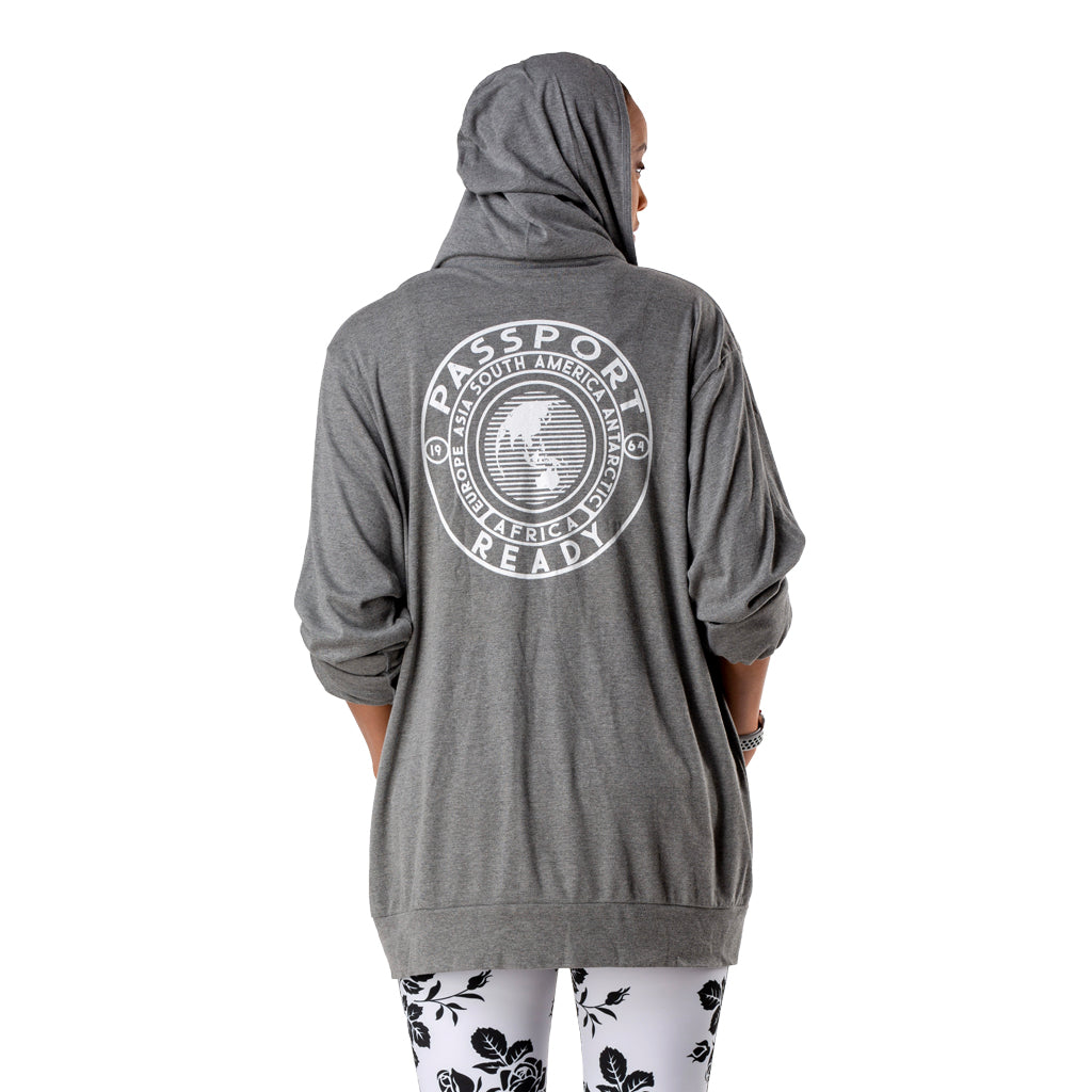 Passport Ready Women's  Lightweight Zip Hoodie back Model