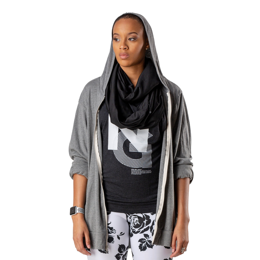 Passport Ready Women's  Lightweight Zip Hoodie Front model