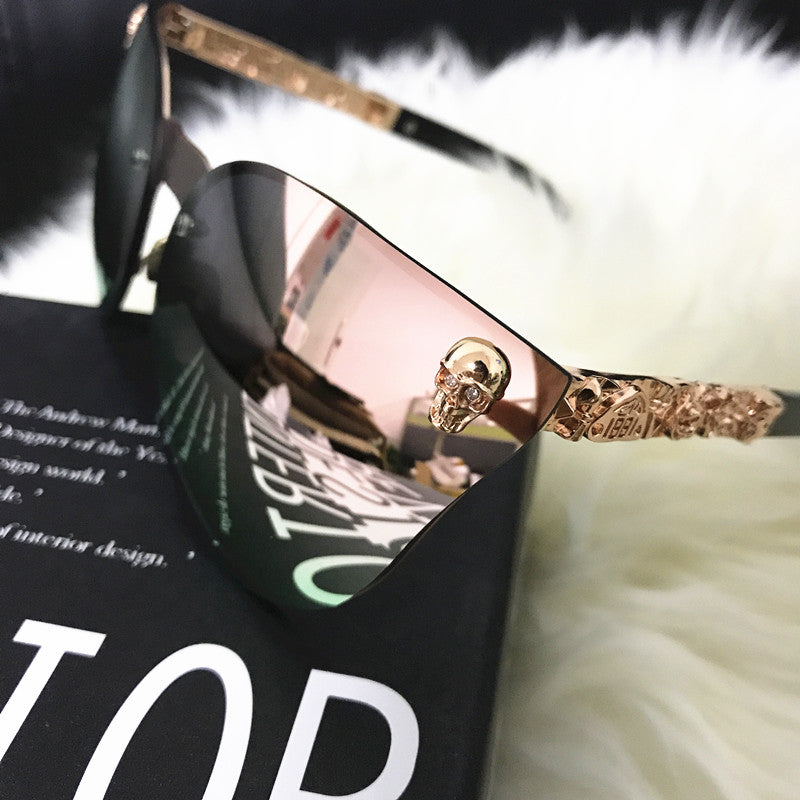 Noir Girl Magic Gothic Eye Wear Skull Sunglasses Rose Gold