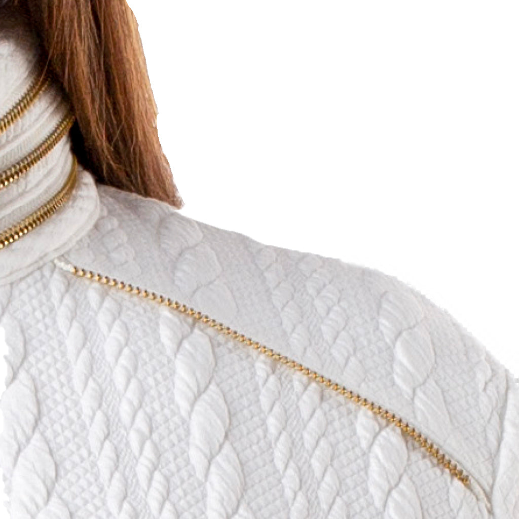 Textured Cotton Blend Jacket | White