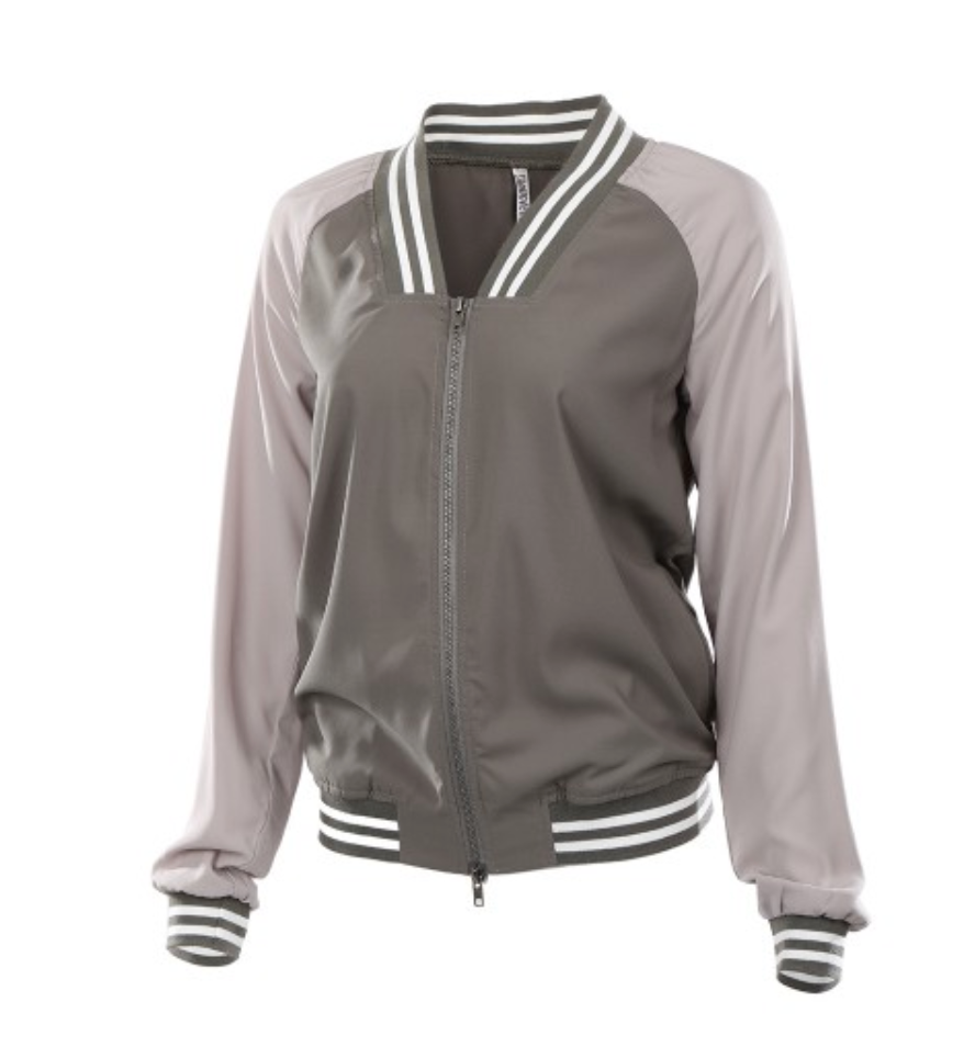 Two-Tone Chiffon Travel Bomber Jacket Front