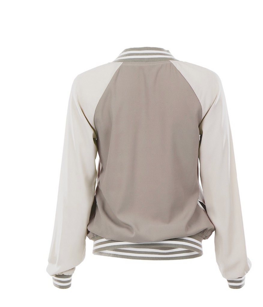 Two-Tone Chiffon Travel Bomber Jacket Back