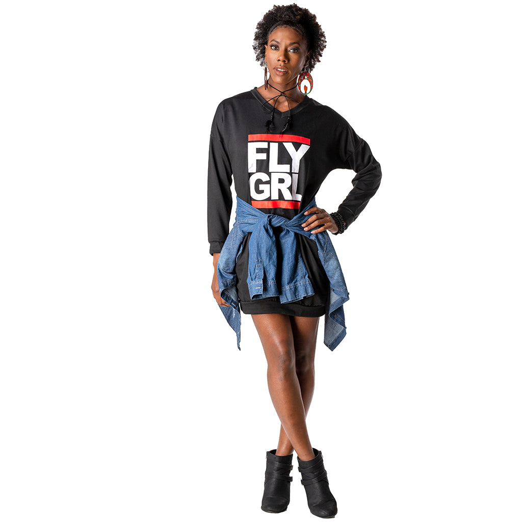 Fly Girl Sweatshirt Dress Noir Girl Magic