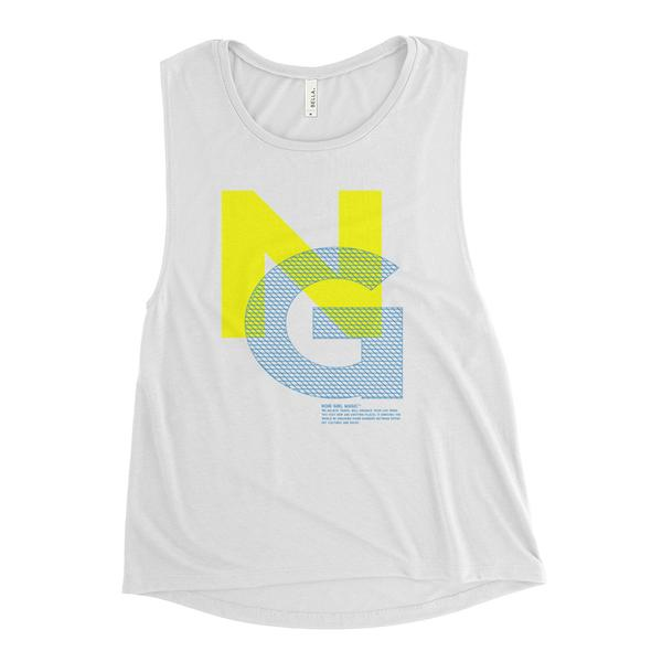 Noir Girl Mesh Muscle White Tank - Yellow/Blue