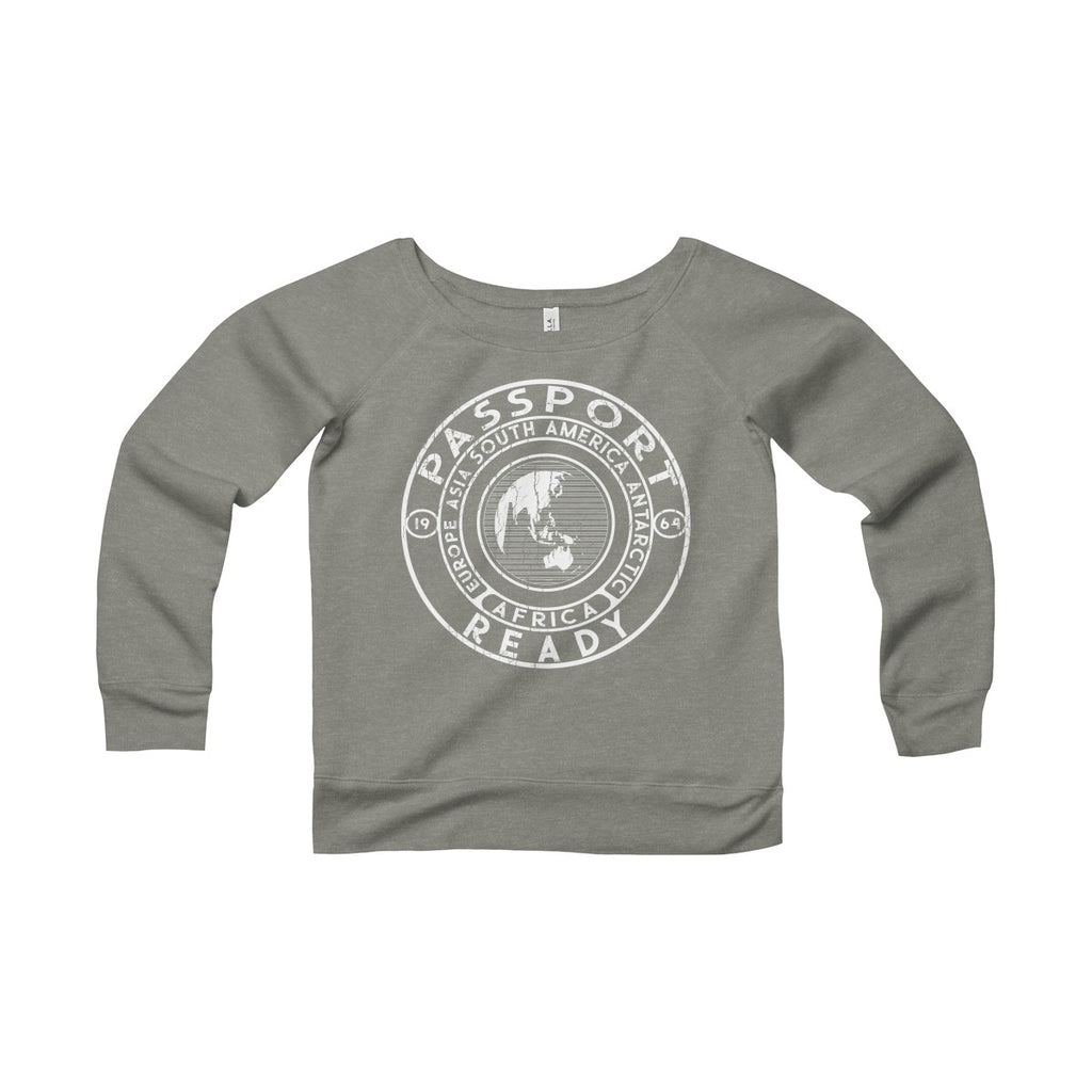 Passport Ready Wide Neck Sweatshirt Grey Triblend