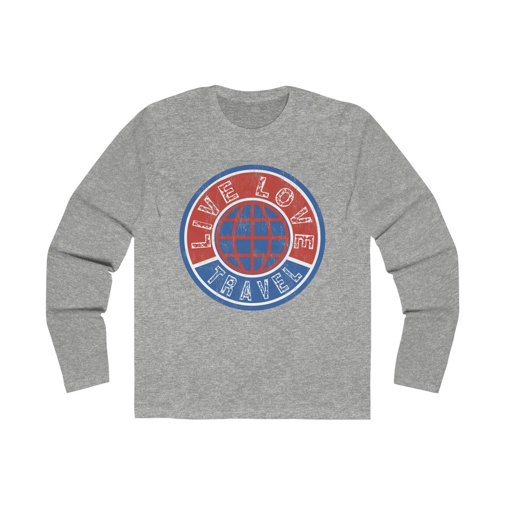 Live Love Travel Men's Long Sleeve Crew Tee Solid Heather Grey