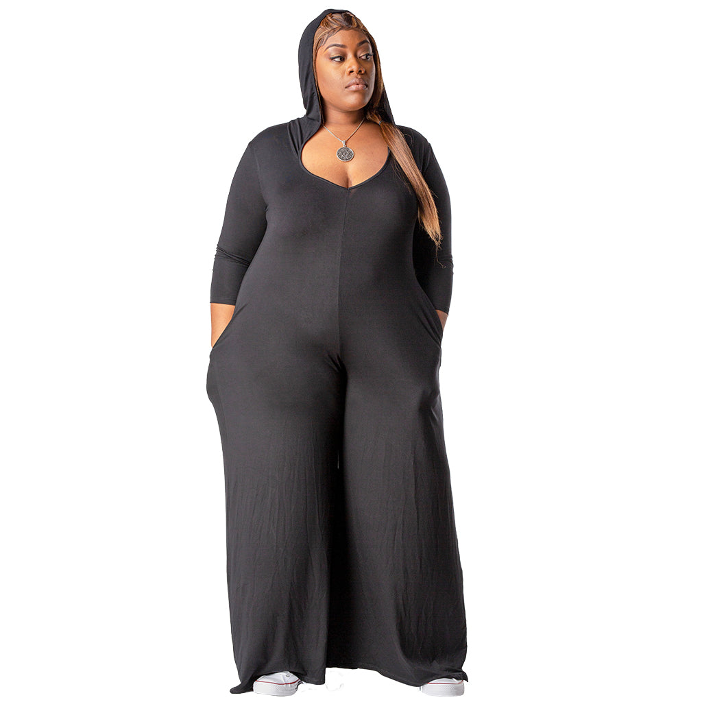 Andrea Palazzo Hoodie Jumpsuit | Plus Size Dressed Down