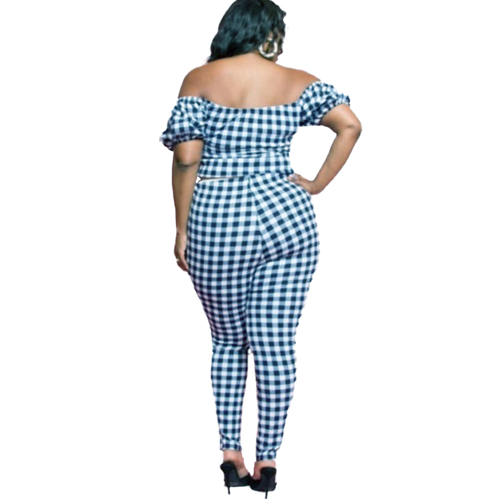 Noir Girl Magic Checkmate! Gingham Print  2-Piece Pant Set Model Back