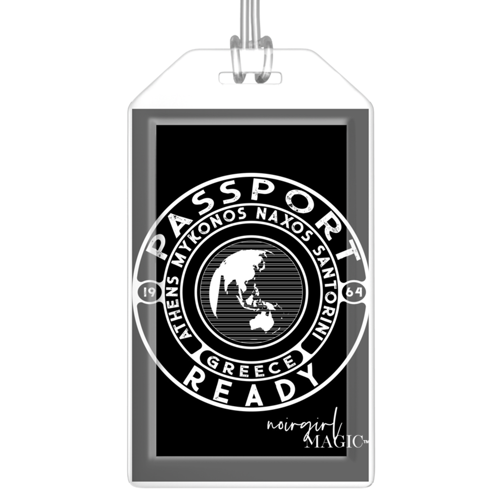 passport ready greece edition luggage tag black | Noir Girl Magic
