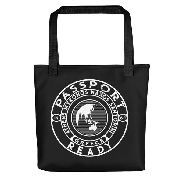 passport ready tote bag in the color black