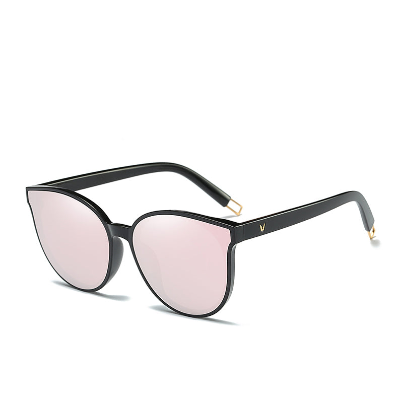 Flat Top Cat Eye Sunglasses Gold Pink Side View