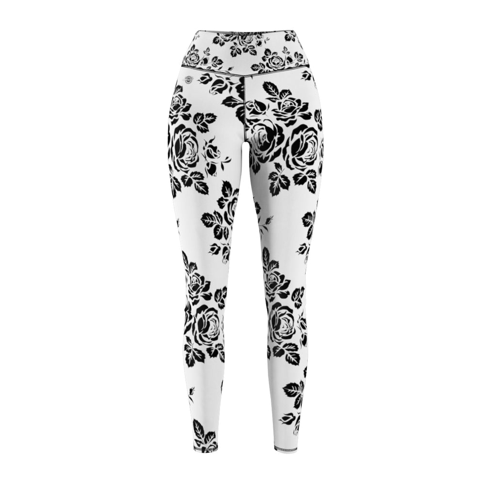 Black Rose High Waist Sport Legging Front