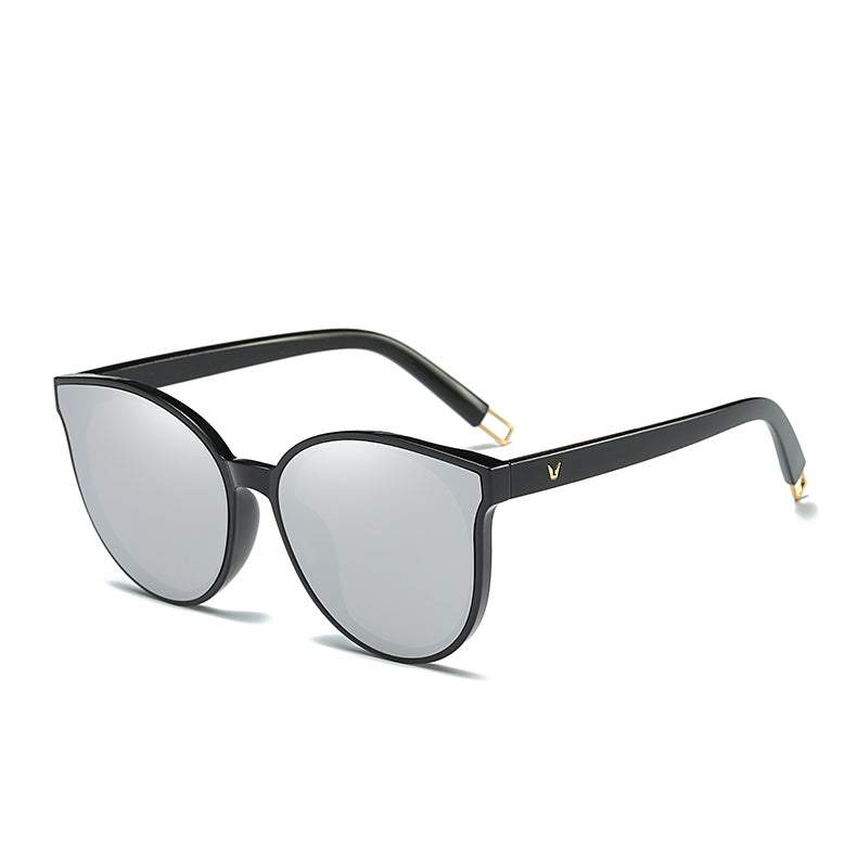 Flat Top Cat Eye Sunglasses Silver Side View