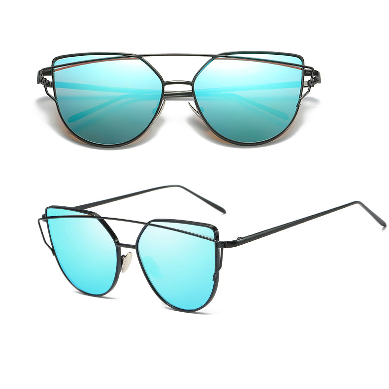Cat Eye Vintage Wire Frame Sunglasses Blue