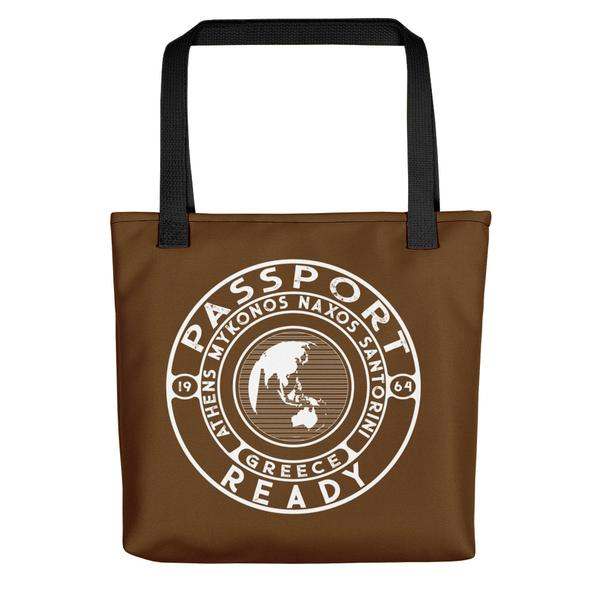 passport ready tote bag in the color chocolate