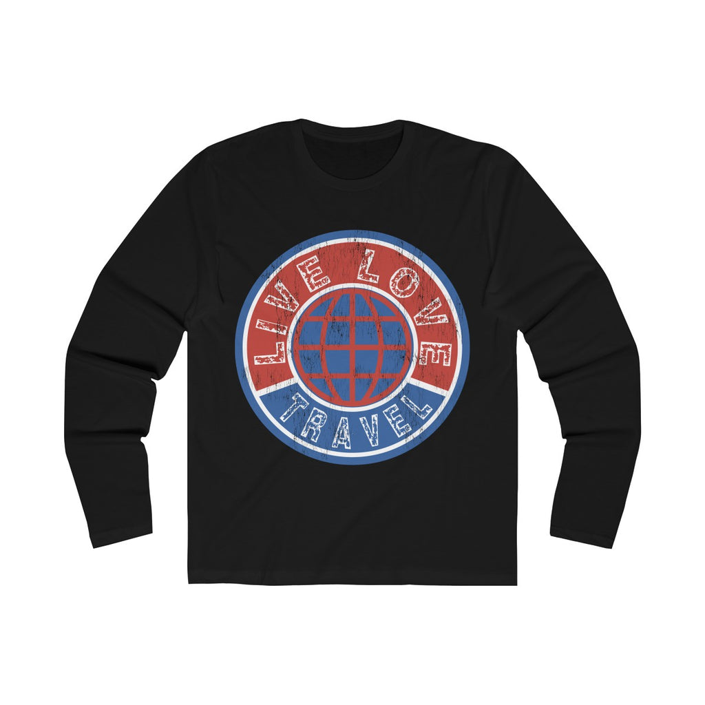 Live Love Travel Men's Long Sleeve Crew Tee Black