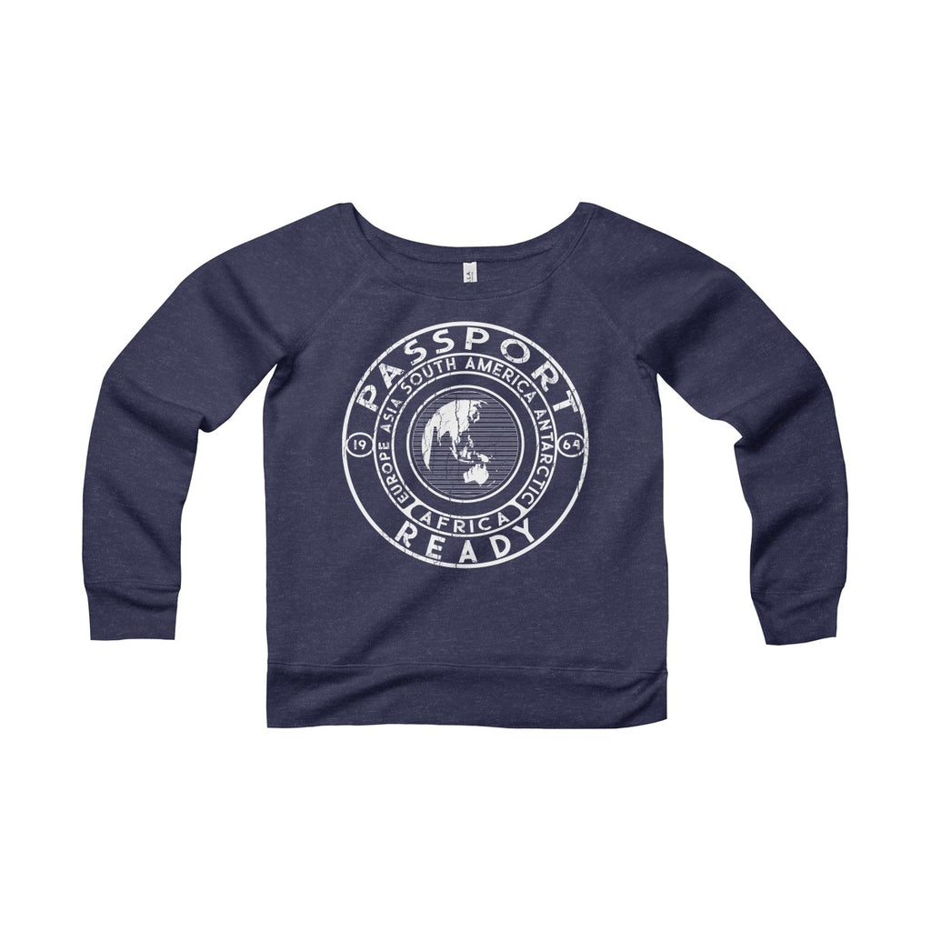 Passport Ready Wide Neck Sweatshirt Navy Triblend