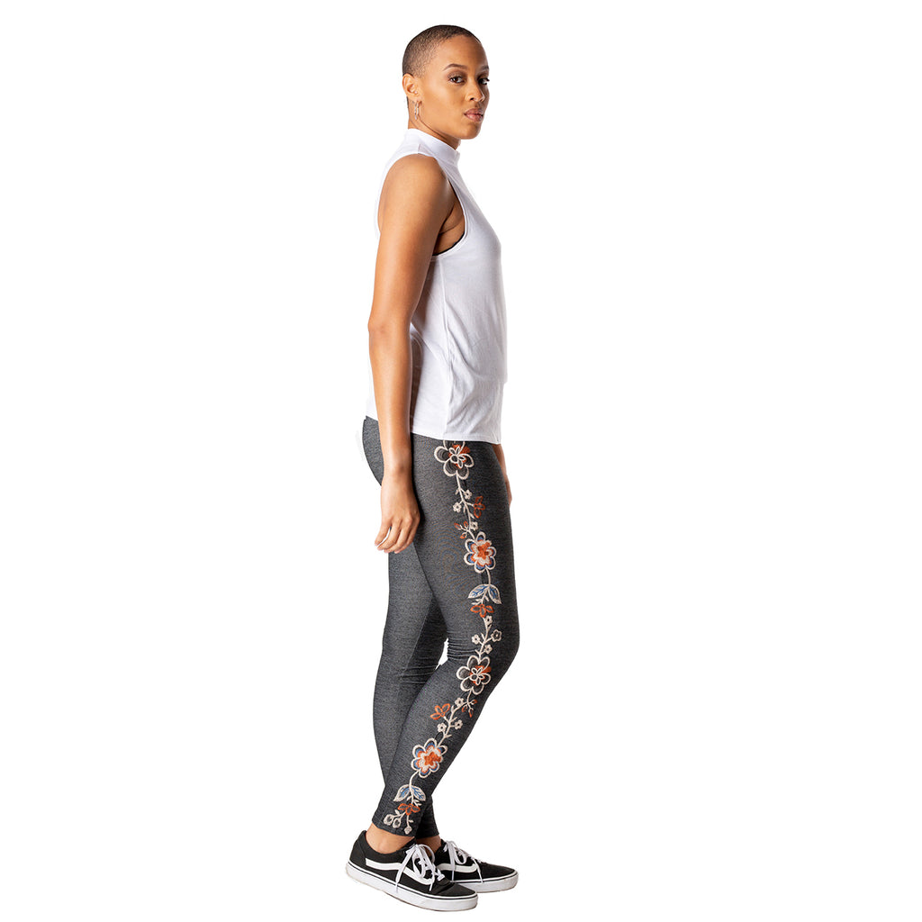 Floral Embroidered Stretchy Leggings-right side