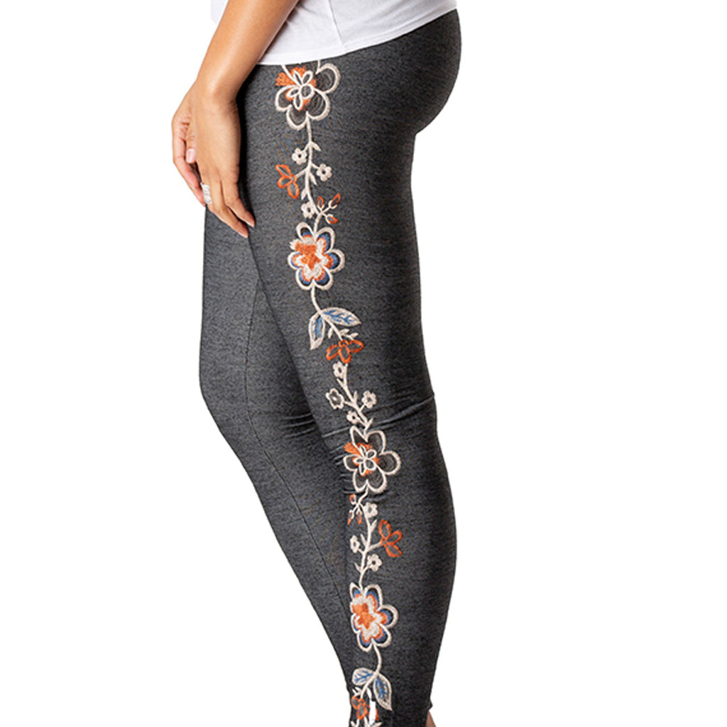 Floral Embroidered Stretchy Leggings-embroidery