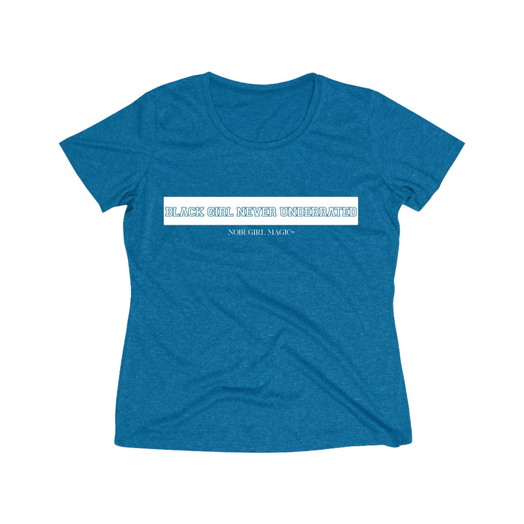 Black Girl Never Underrated Dri Fit Tee | Collegiate Blue Wake Heather