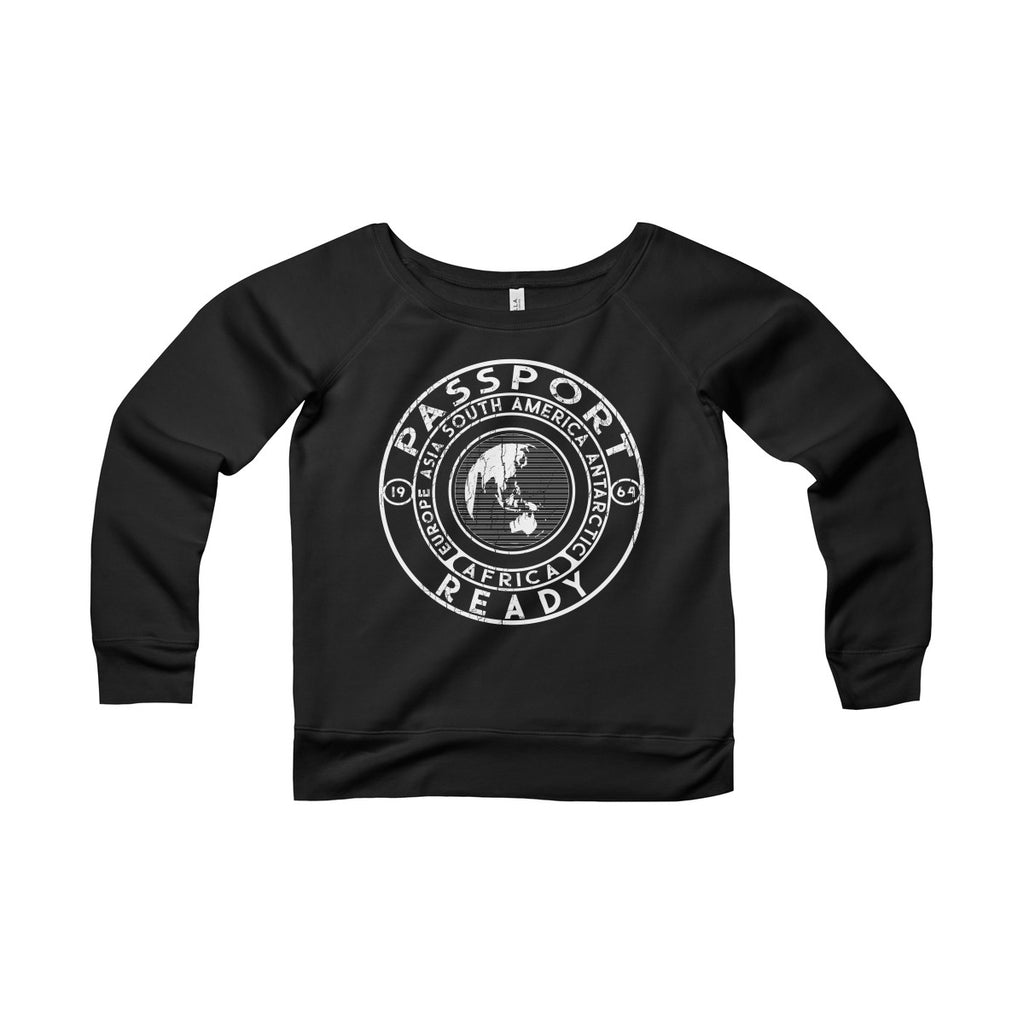 Passport Ready Wide Neck Sweatshirt Black