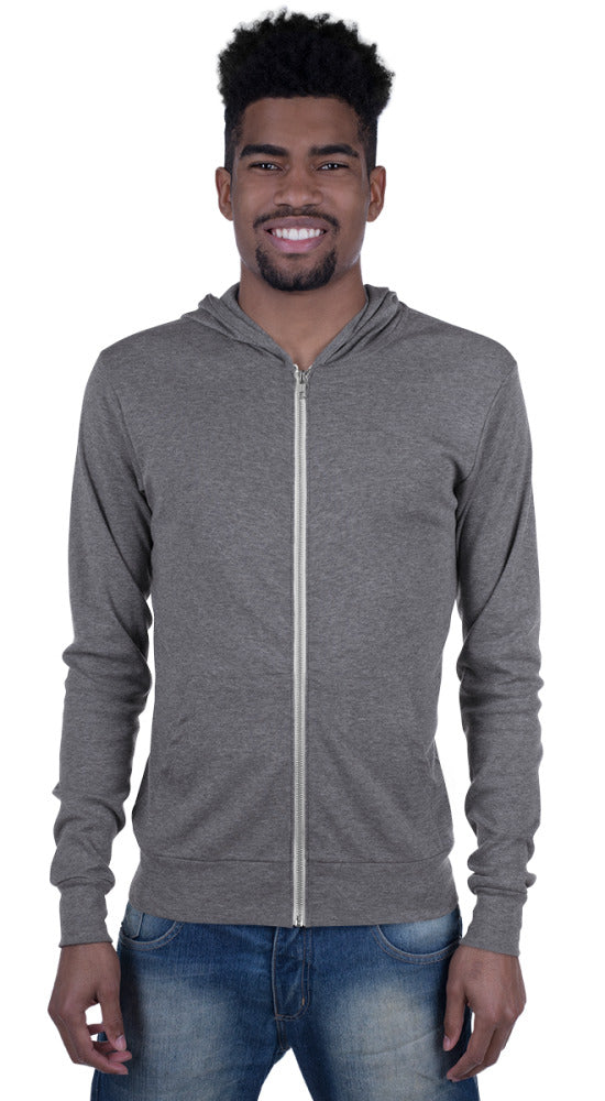 Passport Ready Men's Lightweight Travel Hoodie Jacket Grey Triblend Front