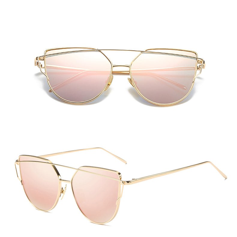 Cat Eye Vintage Wire Frame Sunglasses Gold Pink