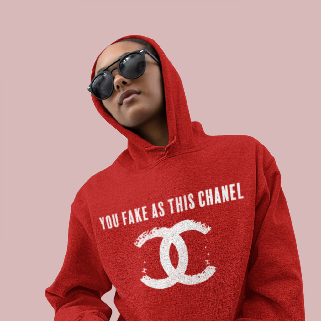 You Fake Unisex Hoodie Red - Model