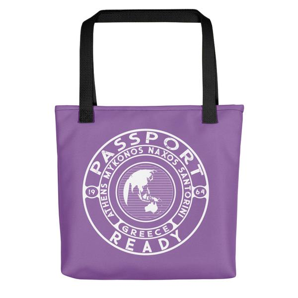 passport ready tote bag in the color lavender