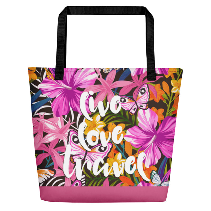Noir Girl Magic Live Love & Travel Tropical Beach Bags Pink