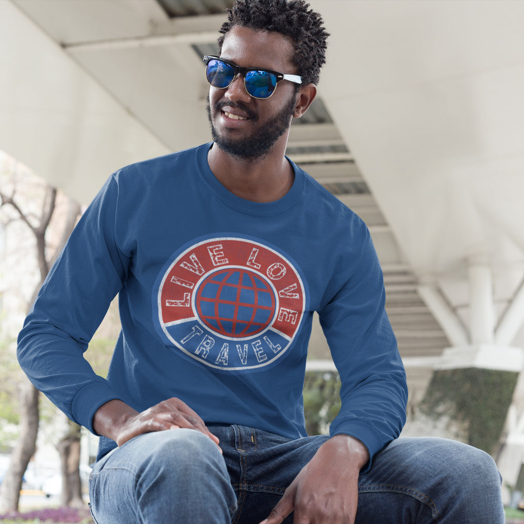 Live Love Travel Men's Long Sleeve Crew Tee Solid Royal