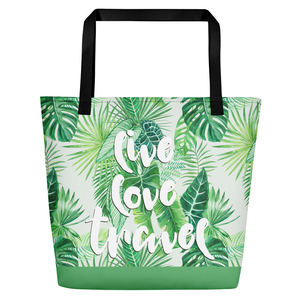 Noir Girl Magic Live Love & Travel Tropical Beach Bags Green