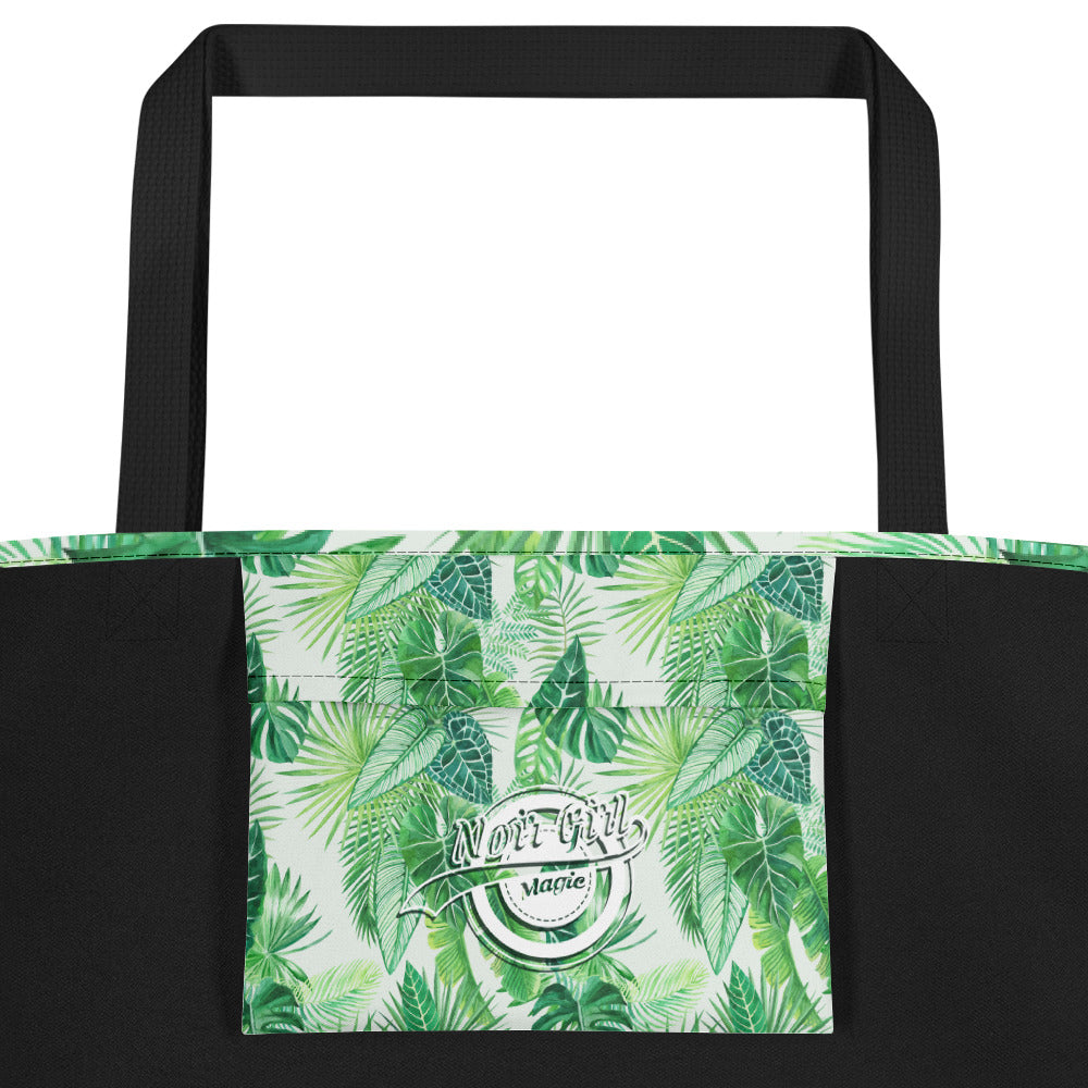 Noir Girl Magic Live Love & Travel Tropical Beach Bags Green Inside