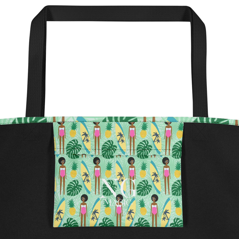 Noir Girl Surfer Girl Beach Bag Pocket
