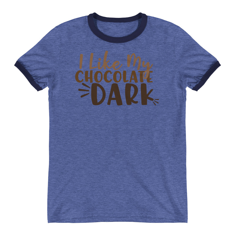 I Like My Chocolate Dark Ringer Tee Blue Navy