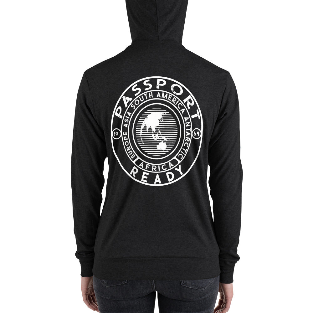 Passport Ready Women's  Lightweight Zip Hoodie