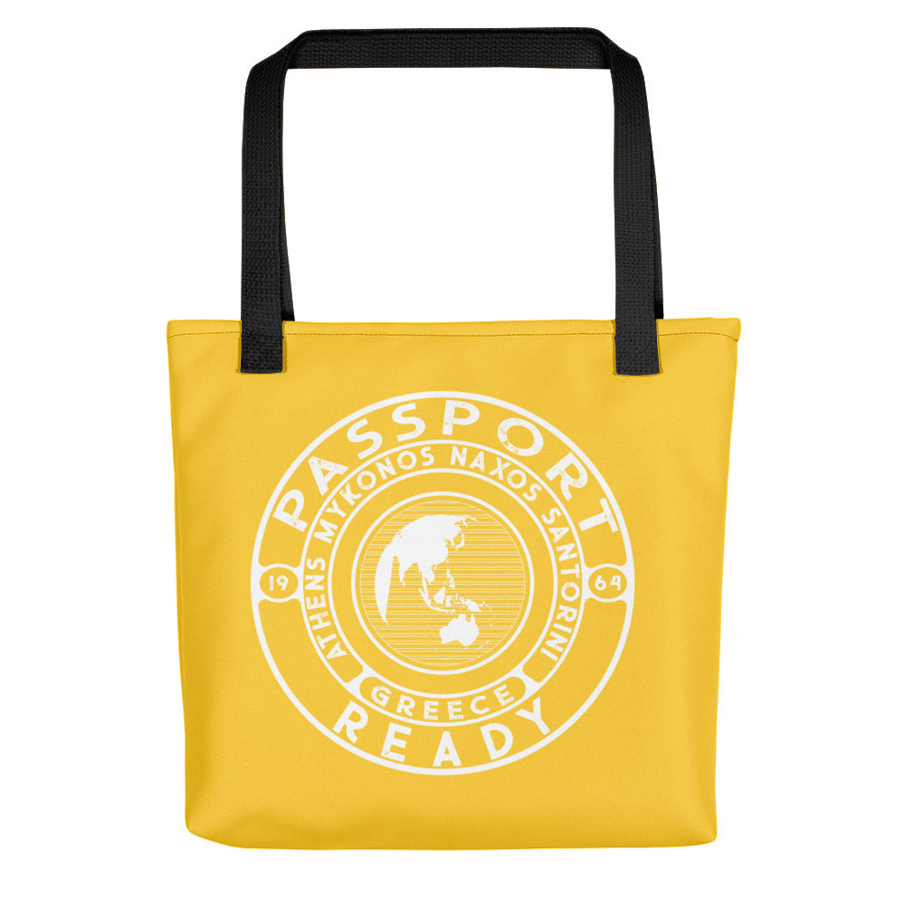 passport ready tote bag in the color yellow
