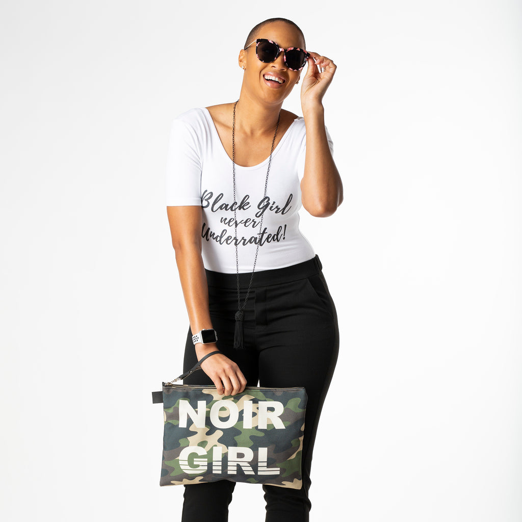 Noir Girl Camo Clutch | Model 16""
