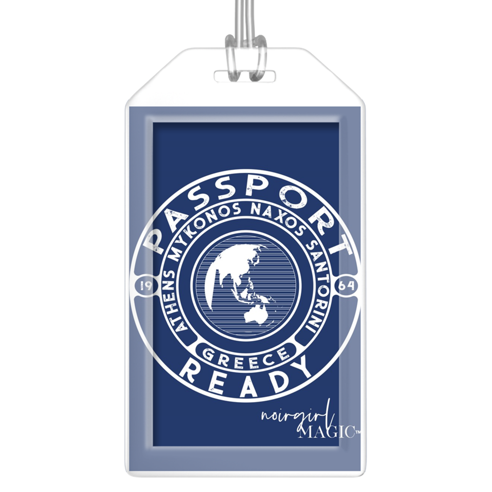 passport ready greece edition luggage tag navy | Noir Girl Magic